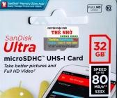 Thẻ Nhớ Thẻ nhớ MicroSDHC SanDisk Ultra 32GB 80MB/s